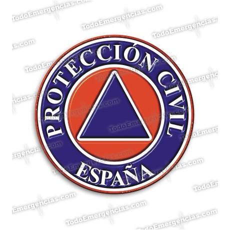 PEGATINAS PROTECCION CIVIL ESPAÑA RESINA EMERGENCIAS REDONDAS