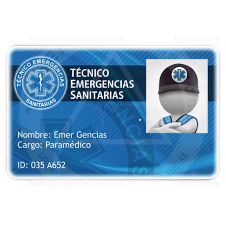 TARJETA EMERGENCIAS PVC TÉCNICO EMERGENCIAS SANITARIAS