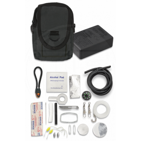 KIT DE SUPERVIVENCIA, SANITARIO Y PESCA FUNDA INCLUIDA
