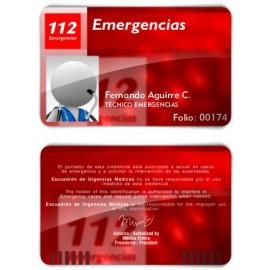 TARJETA EMERGENCIAS BANDA PVC 112 EMERGENCIAS 2