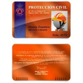TARJETA EMERGENCIAS BANDA PVC PROTECCIÓN CIVIL 3