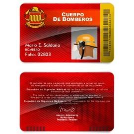 TARJETA EMERGENCIAS BANDA PVC BOMBEROS 3