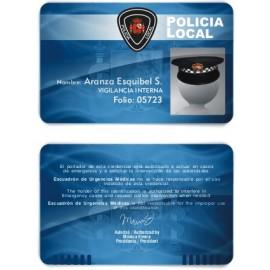 TARJETA EMERGENCIAS BANDA PVC POLICIA 1