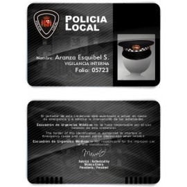 TARJETA EMERGENCIAS BANDA PVC POLICIA 2