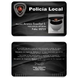 TARJETA EMERGENCIAS BANDA PVC POLICIA 4