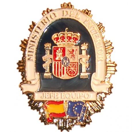 PLACA METALICA MINISTERIO DEL INTERIOR JEFE DE EQUIPO