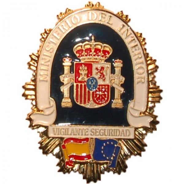 Placa metalica ministerio del interior vigilante seguridad Numero del ministerio del interior