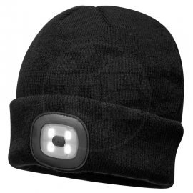GORRO NEGRO DOBLE LUZ LED RECARGABLE