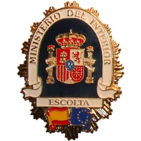 PLACA METALICA MINISTERIO DEL INTERIOR ESCOLTA PRIVADO