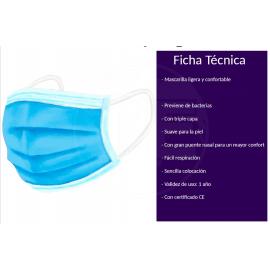 MASCARILLA QUIRÚRGICA TRIPLE CAPA HOMOLOGADA